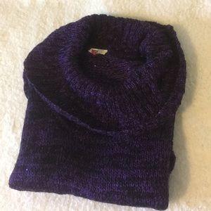 L.e.i Purple Sparkly Cowl Neck Sweater